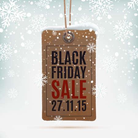 schneeflocke: Black Friday Verkauf. Realistisch, Vintage-Preisschild auf Winter Hintergrund wit Schnee und Schneeflocken. Vektor-Illustration.