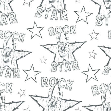 rocknroll: Rock Star seamless pattern with Rock n Roll sign and a stars. Vector illustration.