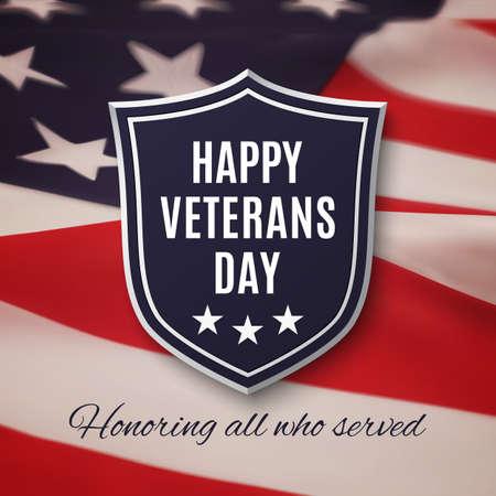 Veterans day background. Shield on American flag. Vector illustration. Stock Illustratie