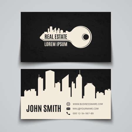 不動産の簡単なキーのロゴ。ビジネス カードのテンプレートです。ベクトルの図。  イラスト・ベクター素材