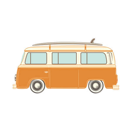 camper: Travel camper van with surf board, isolated on white background. Vector illustration. Illustration