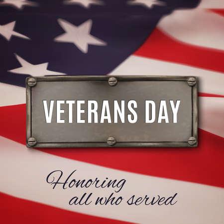 Veterans day background. Metal banner on american flag background. Vector illustration. Vettoriali