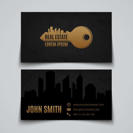 Real estate simple key logo. Business card template. Vector illustration.