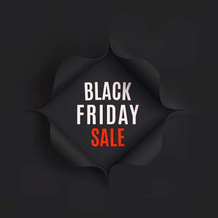 Zwarte vrijdag verkoop achtergrond. Gat in zwart papier. Vector illustratie. Stock Illustratie