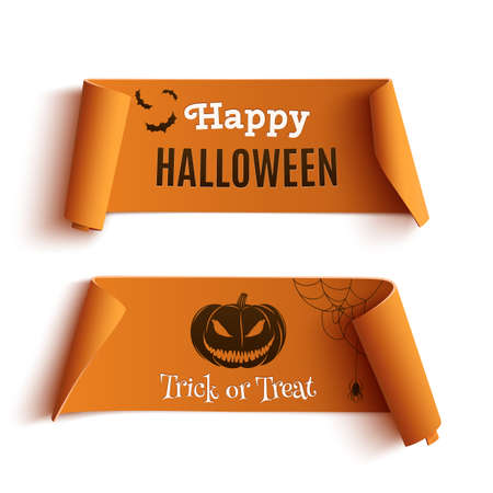 Two Halloween banners, isolated on white background. Vector illustration. Vettoriali