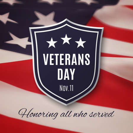 Veterans day background. Shield on American flag. Vector illustration. Vettoriali