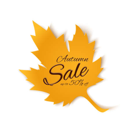 fall: Autumn sale banner. Yellow maple leaf isolated on white background. Vector illustration.
