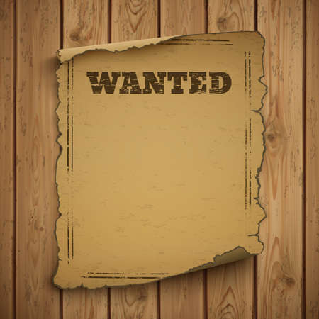 cazador: Se busca cartel salvaje grunge viejo oeste en tablones de madera. Ilustración del vector.