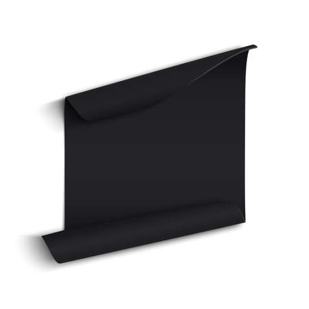 paper banner: Black curved paper banner, isolated on white background. Vector illustration.