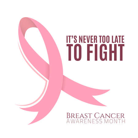 breast: Breast cancer background with pink ribbon. Vector illustration.