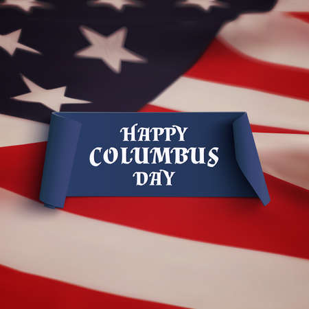 christopher columbus: Happy Columbus Day. Blue curved banner on American flag background. Vector illustration.