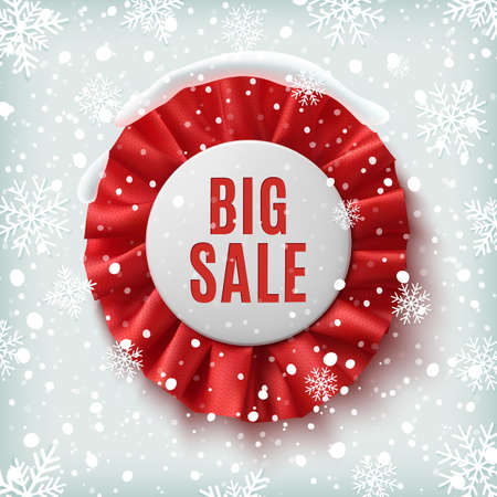 sales: Big sale, realistic red label with ribbons, on on winter background with snow and snowflakes. Badge. Vector illustration. Illustration