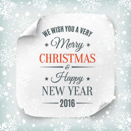 Tipografiche Buon Natale e Felice Anno Nuovo disegno su bianco realistico striscione di carta con neve e fiocchi di neve. Illustrazione vettoriale.