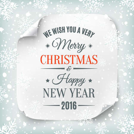 Typographic Merry Christmas and Happy New Year design on white realistic paper banner with snow and snowflakes. Vector illustration.