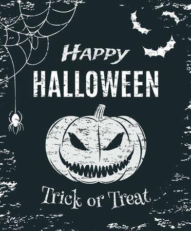 Grunge Happy Halloween poster template. T-shirt graphics. Vector illustration.