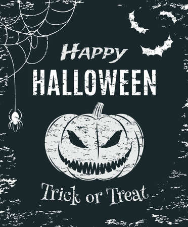 tricks: Grunge Happy Halloween  poster template. T-shirt graphics. Vector illustration.