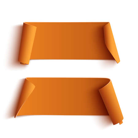 sticky paper: Two curved orange banners, isolated on white background. Vector illustration.