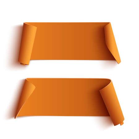 schriftrolle: Zwei gebogene Orange Banner, isoliert auf weißem Hintergrund. Vektor-Illustration.