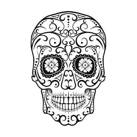 黒と白のタトゥー スカル。死んだキャンディ頭蓋骨の日。メキシコ Dia デ ロス ムエルトス砂糖頭蓋骨。ベクトルの図。