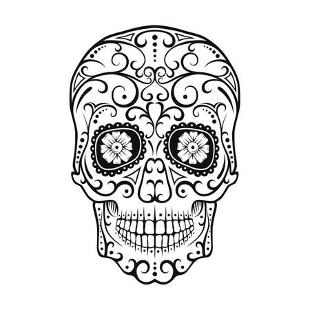 Black and White tattoo Skull. Day Of The Dead Candy Skull. Mexican Dia de los Muertos Sugar Skull. Vector illustration. Иллюстрация