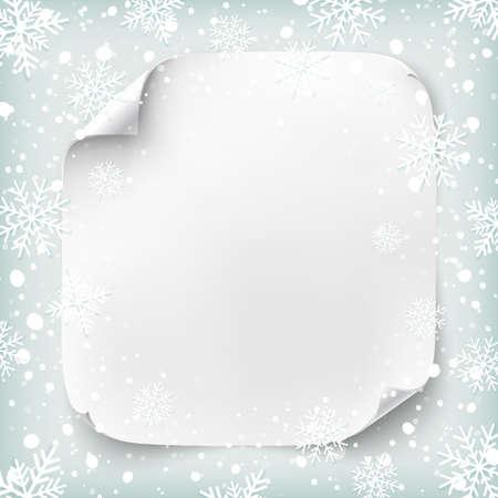 copo de nieve: Bandera de papel realista en el fondo de invierno con nieve y copos de nieve. Ilustración del vector.
