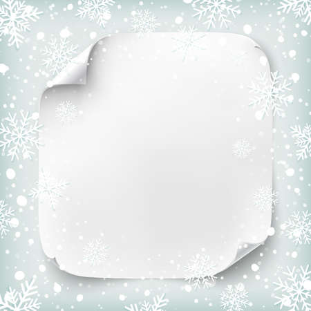 white picture frame: Realistic paper banner on winter background with snow and snowflakes. Vector illustration.