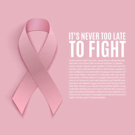 seni: Il cancro al seno mesi consapevolezza. Sfondo con nastro rosa. Illustrazione vettoriale.