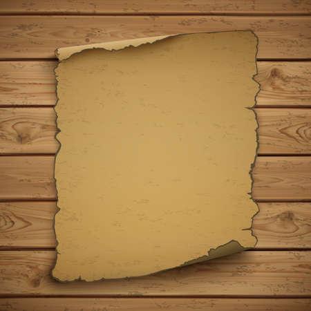 Wild west  blank grunge  old poster on wooden planks. Vector illustration.