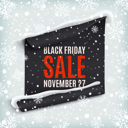 sale sticker: Black Friday sale. Curved paper banner on winter background with snow and snowflakes. Winter sale. Christmas sale. New year sale.Vector illustration.