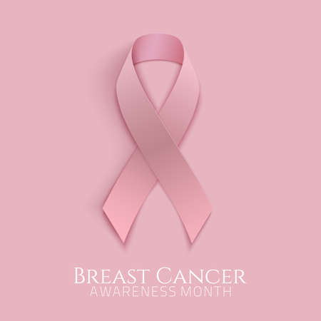 Breast cancer background with pink ribbon. Vector illustration.