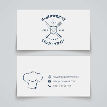 vintage card: Business card template with for restaurant, cafe, bar or fast food. Vector illustration.