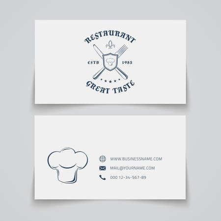 personalausweis: Visitenkarteschablone mit für Restaurant, Café, Bar und Fast Food. Vektor-Illustration.