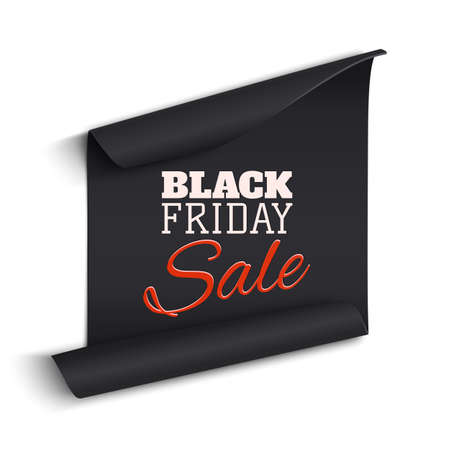 price tag: Black realistic curved paper banner. Ribbon. Black friday sale. Vector illustration.