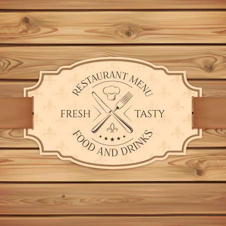 logotipos de restaurantes: Restaurante Vintage, cafetería o comida rápida plantilla de tarjeta del menú. Banner con la cinta en los tablones de madera. Ilustración del vector.