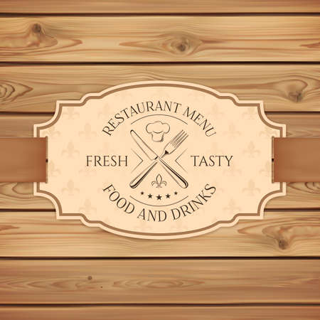 people eating restaurant: Vintage restaurant, cafe or fast food menu board template. Banner with ribbon on wooden planks. Vector illustration.