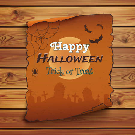 old poster: Happy Halloween poster template. Old, orange scroll on wooden planks. Vector illustration. Illustration