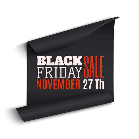 Black Friday sale curved paper banner. Vector illustration.
