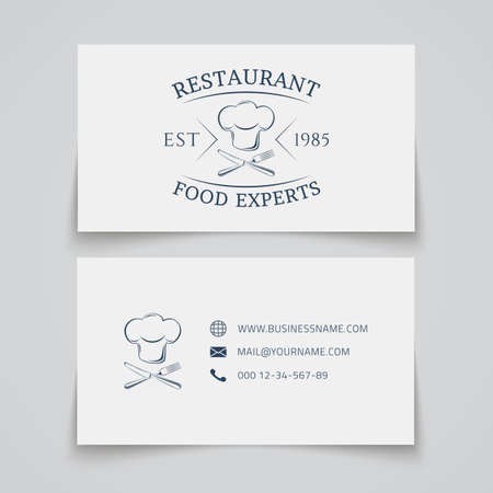 cafe food: Business card template with for restaurant, cafe, bar or fast food. Vector illustration.