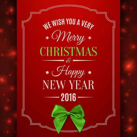 Merry Christmas and Happy New Year. Greeting card template. Vector illustration. Illustration