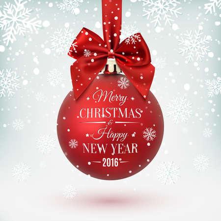 joyeux noel: Red boule de Noël avec le ruban et un arc, sur fond d'hiver avec la neige et les flocons de neige. Joyeux Noel et bonne année. Vector illustration. Illustration