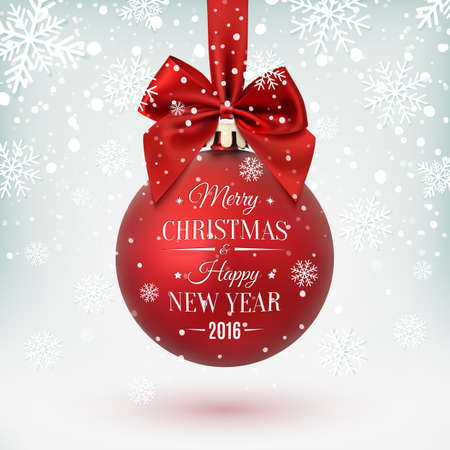 Red Christmas ball with ribbon and a bow, on winter background with snow and snowflakes. Merry Christmas and Happy New Year. Vector illustration. Stock Illustratie