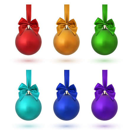 Set of six colorful Christmas balls with ribbon and a bow, isolated on white background.