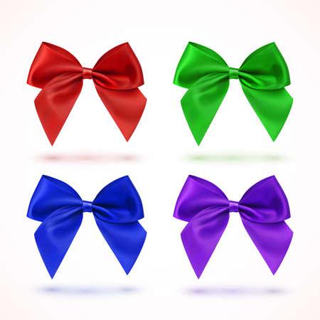 lazo regalo: Conjunto de cuatro lazos de colores, aislados en fondo blanco. Ilustración del vector. Vectores