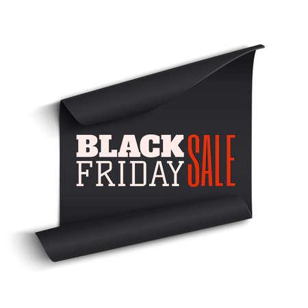 curved: Black realistic curved paper banner. Ribbon. Black friday sale. Vector illustration.