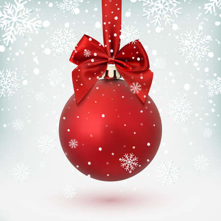 Red Christmas ball with ribbon and a bow, on winter background with snow and snowflakes. Vector illustration. Vettoriali