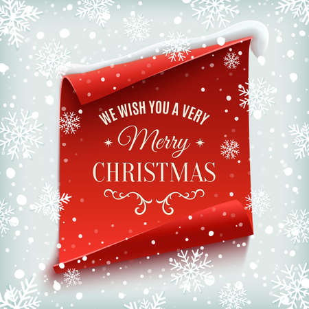 We wish you a Very Merry Christmas, greeting card. Red, curved, paper banner on winter background with snow and snowflakes. Vector illustration. Stock Illustratie