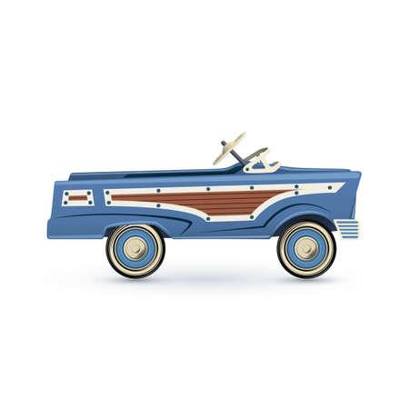 antik: Vintage, alte blaue Spielzeug Tretauto, auf weißem Hintergrund. Vektor-Illustration.