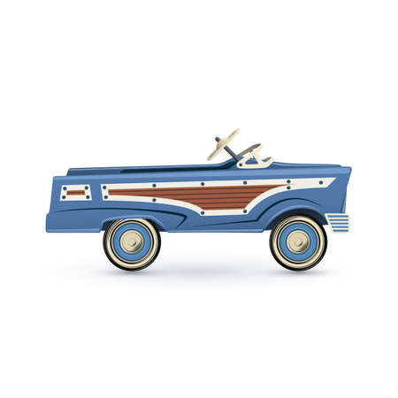 pedal: Vintage, old blue toy pedal car, Isolated on white background. Vector illustration.