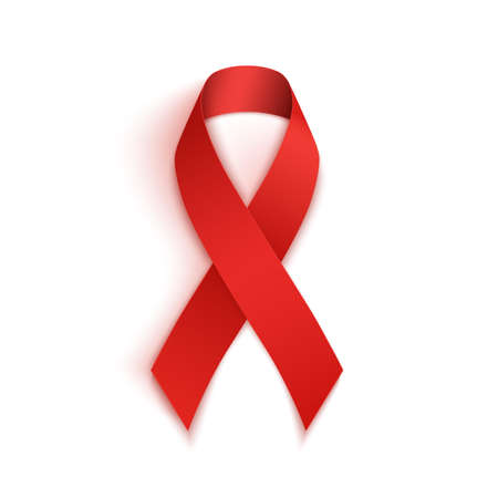 aids symbol: Red AIDS ribbon isolated on white background. Vector illustration.