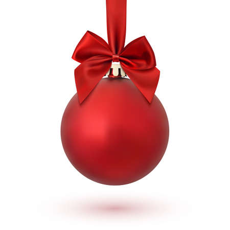 Red Christmas ball with ribbon and a bow, isolated on white background. Vector illustration. Vettoriali